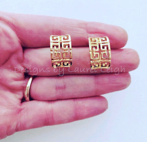 Chinoiserie Gold Greek Key Post Earrings - Ginger jar