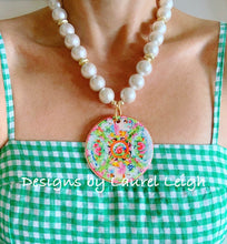 Load image into Gallery viewer, Chinoiserie Chic Rose Medallion Pendant Necklace - White Chunky Pearls - Ginger jar
