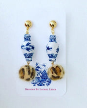 Load image into Gallery viewer, Chinoiserie FAUX Fur Leather Leopard Print Ginger Jar Statement Earrings - Ginger jar