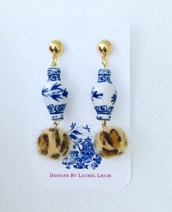 Chinoiserie FAUX Fur Leather Leopard Print Ginger Jar Statement Earrings - Ginger jar