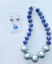 Load image into Gallery viewer, Blue and White Chinoiserie with Jumbo Pearl Chunky Statement Necklace - Silver - Ginger jar