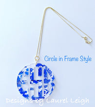 Load image into Gallery viewer, Blue Willow Chinoiserie Monogram Necklace - Blue - 2 Styles - Ginger jar