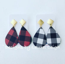 Load image into Gallery viewer, Buffalo Check Plaid Leather Statement Earrings - Red & Black or Black & White - Designs by Laurel Leigh