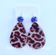 Load image into Gallery viewer, Chinoiserie Leather Leopard Print Statement Earrings - Ginger jar