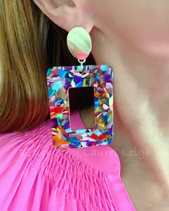 Large Tortoise Shell Statement Earrings - Rainbow Multicolor/Gold - Ginger jar