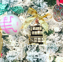 Load image into Gallery viewer, Chinoiserie Chic Pagoda Christmas Ornament - Mirrored Gold & Silver - Ginger jar