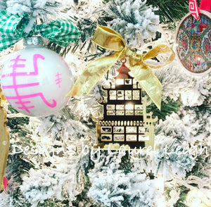 Chinoiserie Chic Pagoda Christmas Ornament - Mirrored Gold & Silver - Ginger jar