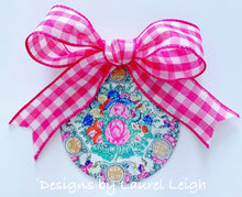 "Load image into Gallery viewer, Chinoiserie Christmas Ornament- 4"" Rose Medallion Plate Pattern - Pick Ribbon"