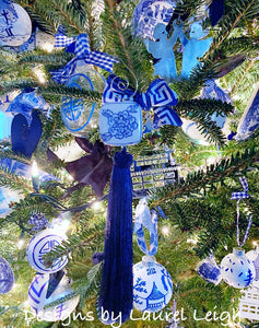 Blue and White Chinoiserie Tassel Christmas Ornament