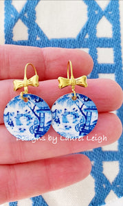 Blue and White Chinoiserie Watercolor Geisha & Bow Earrings