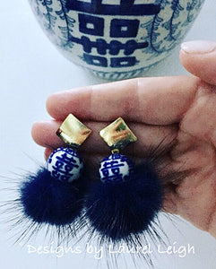 Chinoiserie Double Happiness Fur PomPom Statement Earrings - Navy - Ginger jar