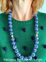 Load image into Gallery viewer, Long Chunky Chinoiserie Floral Beaded Statement Necklace