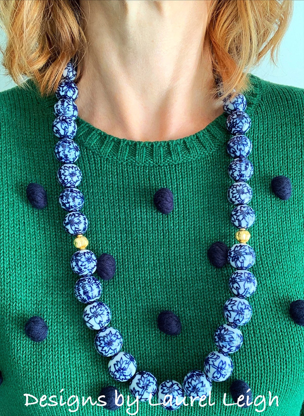 Long Chunky Chinoiserie Floral Beaded Statement Necklace - Ginger jar