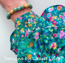 Load image into Gallery viewer, Chinoiserie Longevity Bead Bracelet - Green & Gold