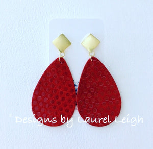 Leather Polka Dot Statement Earrings - Red - Designs by Laurel Leigh
