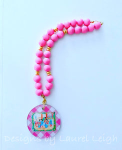 Pink Rose Medallion Chinoiserie Pendant Necklace - 2-Sided - Ginger jar
