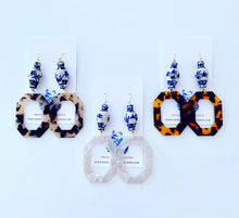 Load image into Gallery viewer, Chinoiserie Ginger Jar Octagon Tortoise Shell Statement Earrings - 3 Colors - Ginger jar