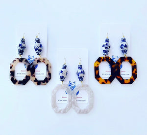 Chinoiserie Ginger Jar Octagon Tortoise Shell Statement Earrings - 3 Colors - Designs by Laurel Leigh