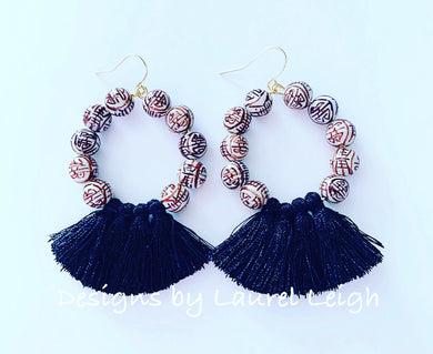 Chinoiserie Longevity Beaded Tassel Hoops - Black/Brown