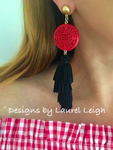 Load image into Gallery viewer, Chinoiserie Slinky Tassel Statement Earrings - Red & Black - Ginger jar