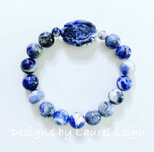 Load image into Gallery viewer, Blue and White Chinoiserie Gemstone Bracelet