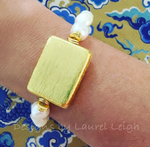 Baroque Pearl and Gold Bead Statement Bracelet - Designs by Laurel Leigh