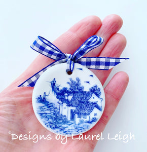 Blue and White Porcelain Chinoiserie Ornament - Mini size