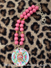 Load image into Gallery viewer, Rose Medallion Chinoiserie Pendant Necklace - Pink - 2 Options - Ginger jar