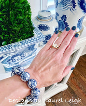 Load image into Gallery viewer, Blue and White Chinoiserie Floral/Chinese Symbol Beaded Statement Bracelet - Ginger jar