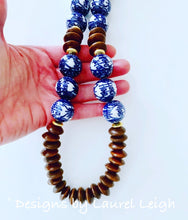 Load image into Gallery viewer, Chunky Long Brown Chinoiserie Double Happiness Beaded Statement Necklace - Ginger jar