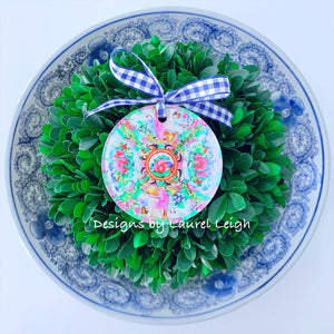 Rose Medallion Plate Christmas Ornament - Watercolor Design