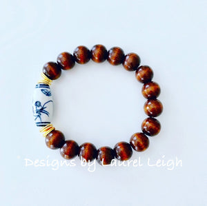 Chinoiserie Beaded Bracelet - Brown - Ginger jar