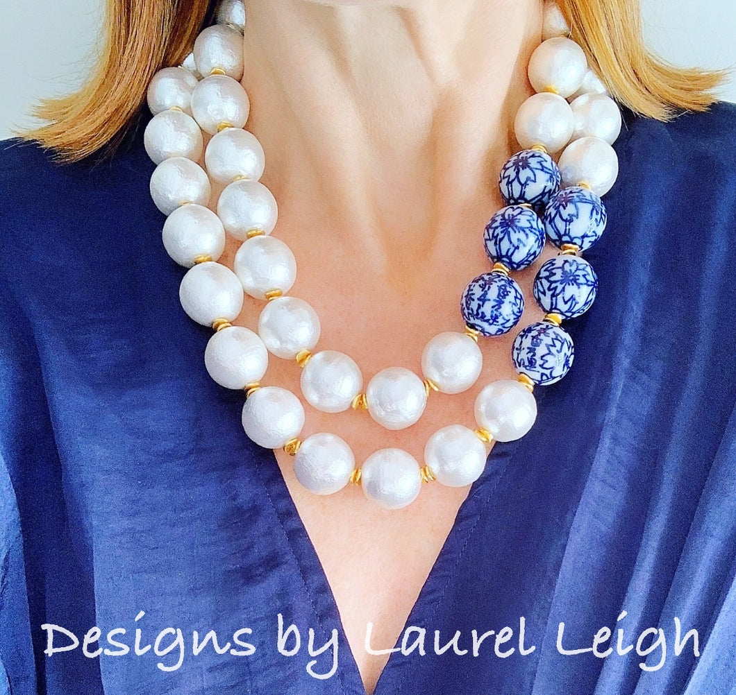 Chinoiserie Jumbo Pearl Double-Strand Statement Necklace - Ginger jar