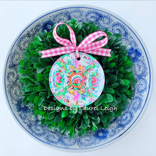 Load image into Gallery viewer, Rose Medallion Plate Christmas Ornament - Watercolor Design