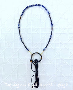 Blue and White Chinoiserie Beaded Bamboo Eyeglass / Sunglass / Mask Holder / Lanyard Chain / Necklace