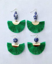 Load image into Gallery viewer, Chinoiserie Ginger Jar Fan Tassel Earrings - Green - Ginger jar