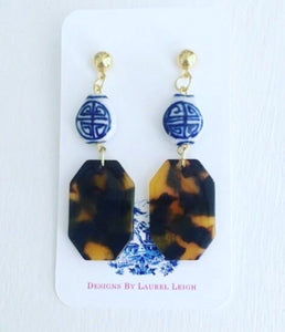 Chinoiserie Tortoise Shell Earrings - Small Octagon Posts - Ginger jar