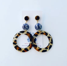 Load image into Gallery viewer, Chinoiserie Ginger Jar Animal Print Acrylic Hoops - 4 Styles - Ginger jar