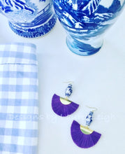 Load image into Gallery viewer, Chinoiserie Ginger Jar Fan Tassel Earrings - Purple - Ginger jar