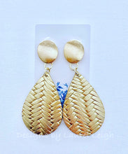 Load image into Gallery viewer, Leather Basketweave Statement Earrings - Gold or Silver - Designs by Laurel Leigh
