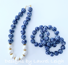 Load image into Gallery viewer, Blue and White Chinoiserie Floral/Chinese Symbol Beaded Statement Bracelet
