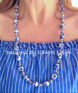 Blue and White Chinoiserie Ginger Jar Statement Necklace - Ginger jar