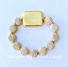 Load image into Gallery viewer, Gold and Beige/Tan Chinoiserie Coin Beaded Bracelet - Ginger jar
