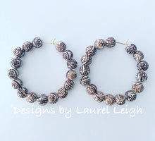Load image into Gallery viewer, Chinoiserie Longevity Beaded Hoops - Chocolate Brown