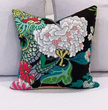 Load image into Gallery viewer, Designer Fabric Pillow Cover - Schumacher Chiang Mai Dragon  (Single) - Ebony Black on BOTH Sides - Ginger jar