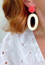 Load image into Gallery viewer, Coral & Gold Floral Earrings - Ginger jar