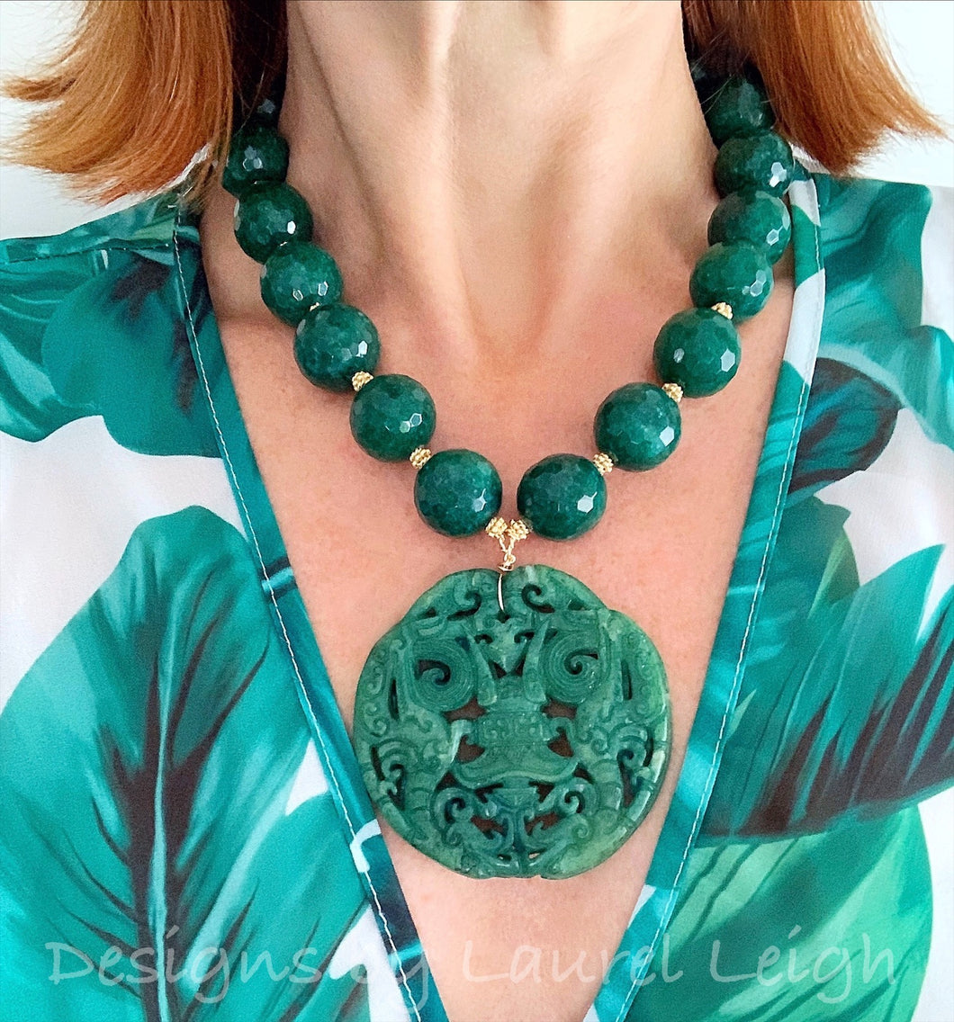 Chunky Emerald Green Jade Chinoiserie Pendant Statement Necklace - Ginger jar