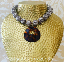 Load image into Gallery viewer, Chunky Chinoiserie Double Happiness Necklace with Brown Tortoise Shell Pendant
