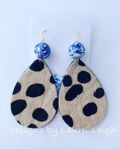 Chinoiserie Leather Cheetah Print Statement Earrings - Ginger jar