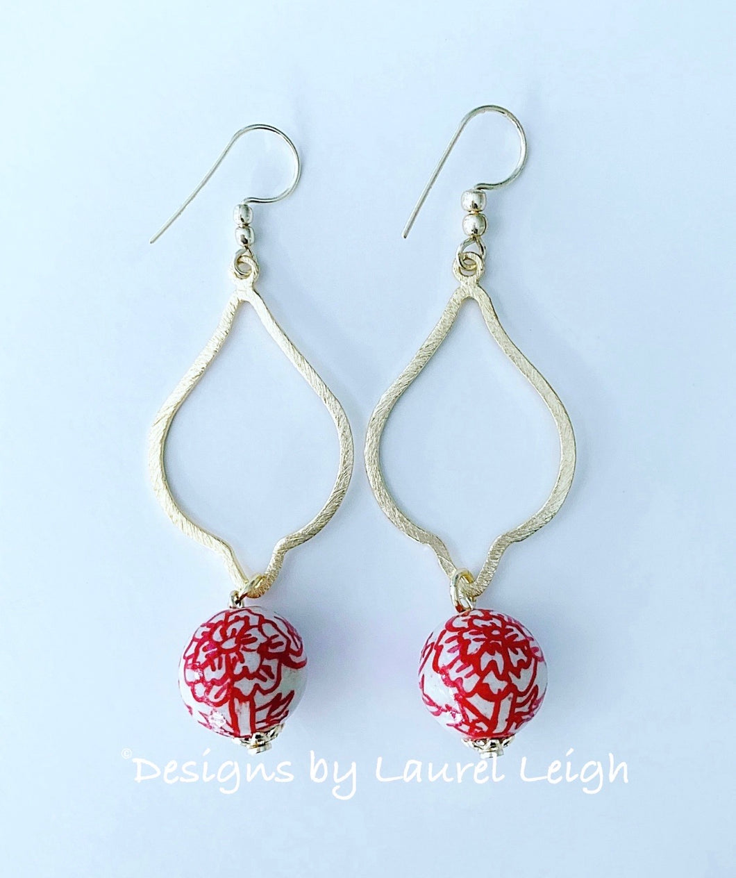 Chinoiserie Red Peony Drop Earrings